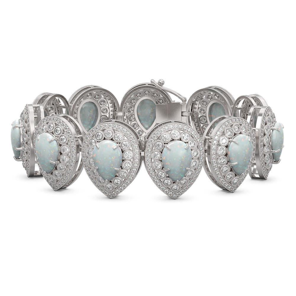 46.44 ctw Opal & Diamond Bracelet 14K White Gold - REF-1468X4R - SKU:43271