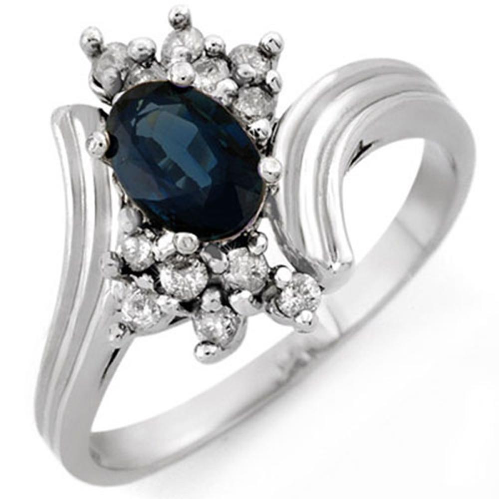 1.0 ctw Blue Sapphire & Diamond Ring 18K White Gold - REF-43R8K - SKU:10437
