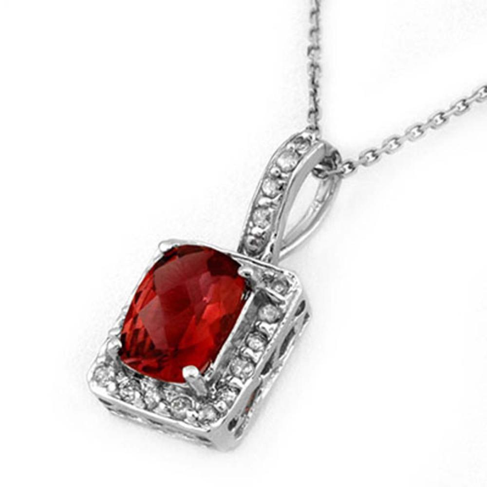 2.25 ctw Pink Tourmaline & Diamond Necklace 14K White Gold - REF-48Y4X - SKU:10142