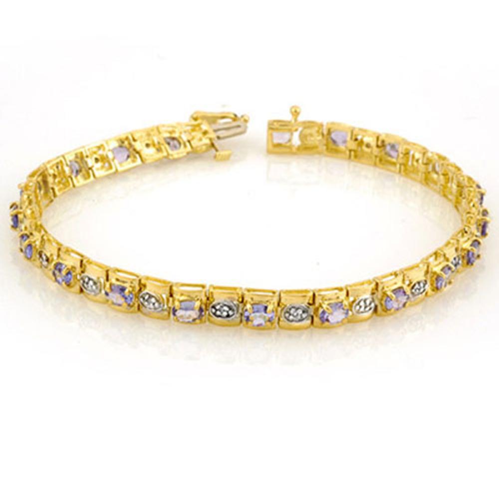 3.14 ctw Tanzanite & Diamond Bracelet 10K Yellow Gold - REF-109F3N - SKU:10398