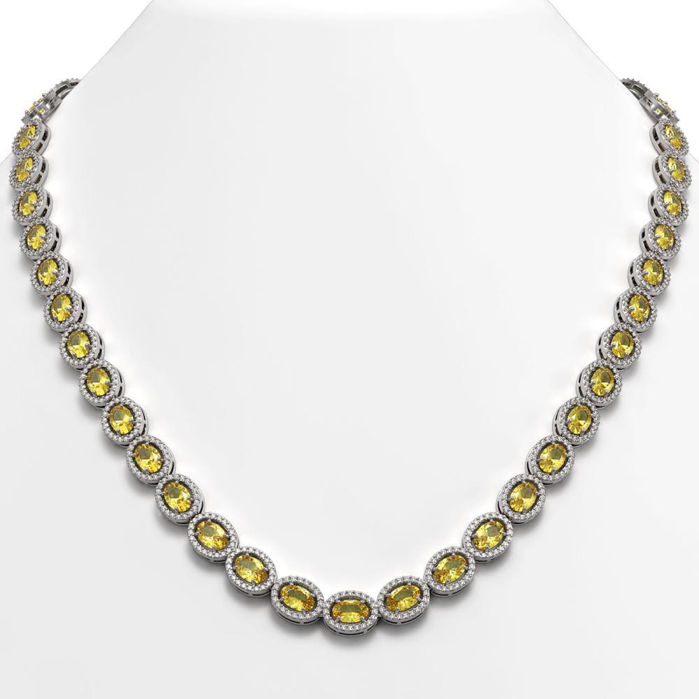 28.52 ctw Fancy Citrine & Diamond Halo Necklace 10K White Gold - REF-498V9Y - SKU:40442