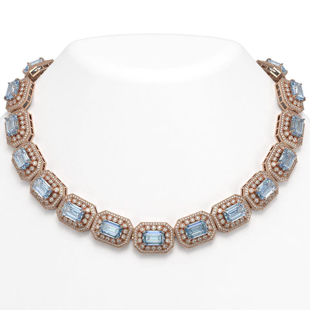 109.25 ctw Aquamarine & Diamond Necklace 14K Rose Gold - REF-3037V8Y - SKU:43473