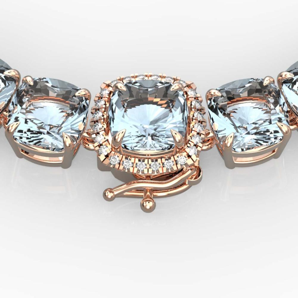87 ctw Aquamarine & VS/SI Diamond Necklace 14K Rose Gold - REF-726K9W - SKU:23337