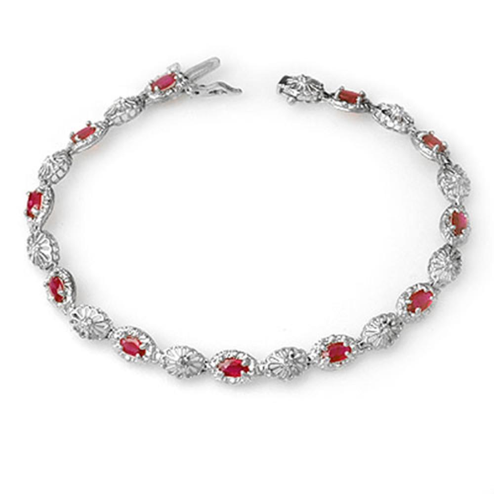 4.17 ctw Ruby & Diamond Bracelet 10K White Gold - REF-67X3R - SKU:14302