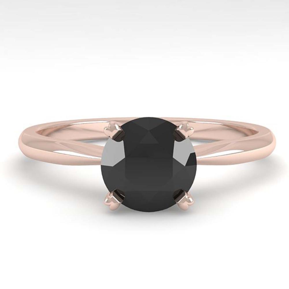 1.0 ctw Black Diamond Ring 18K Rose Gold - REF-43F5N - SKU:32402
