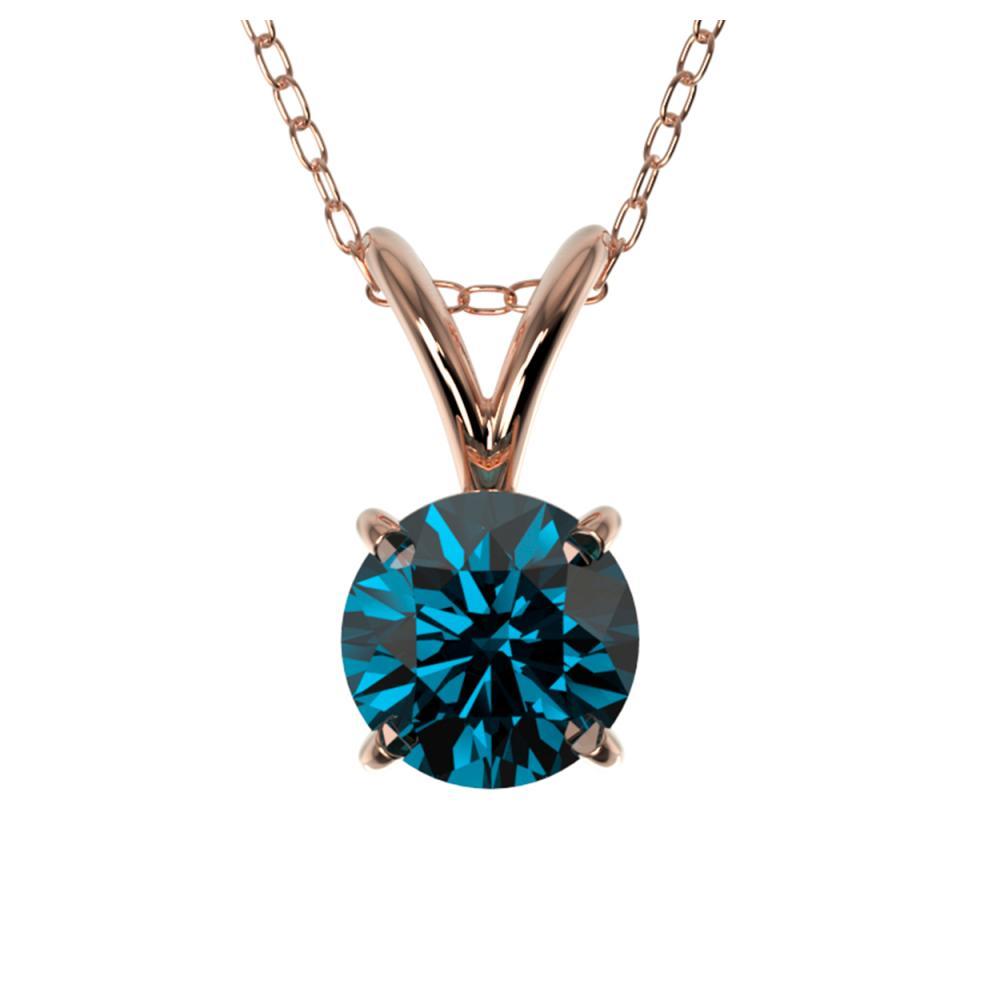 0.51 ctw Intense Blue Diamond Necklace 10K Rose Gold - REF-42W2H - SKU:36727
