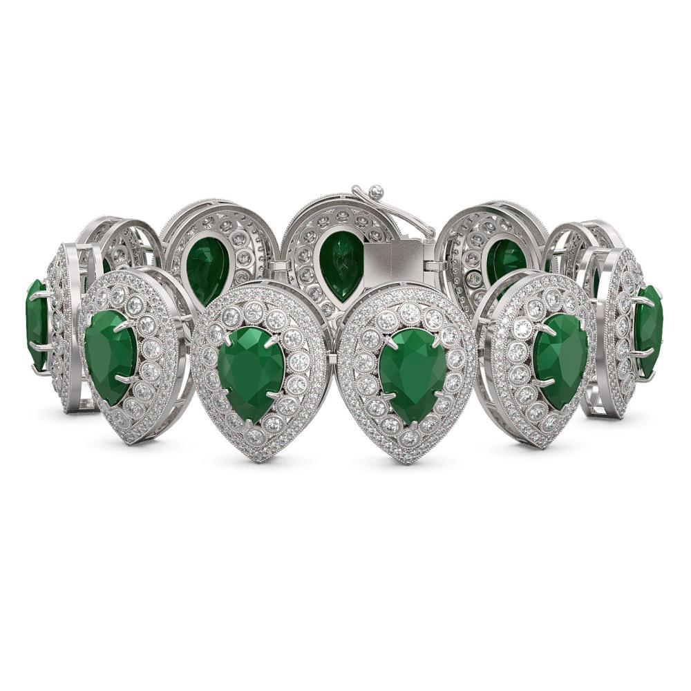 56.04 ctw Emerald & Diamond Bracelet 14K White Gold - REF-1520Y7X - SKU:43253