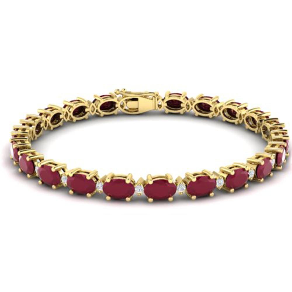 30.8 ctw Ruby & VS/SI Diamond Eternity Bracelet 10K Yellow Gold - REF-245W5H - SKU:29460