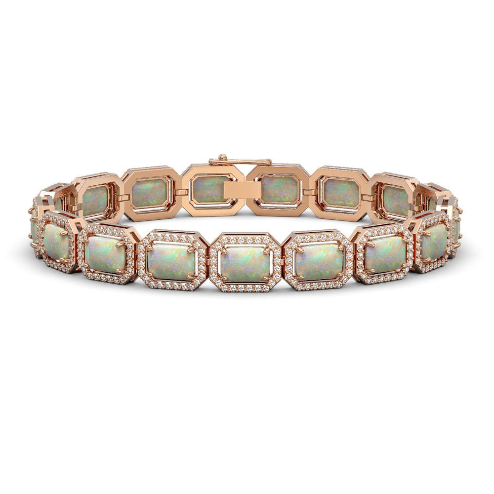 16.86 ctw Opal & Diamond Halo Bracelet Rose 10K Rose Gold - REF-334F7N - SKU:41394