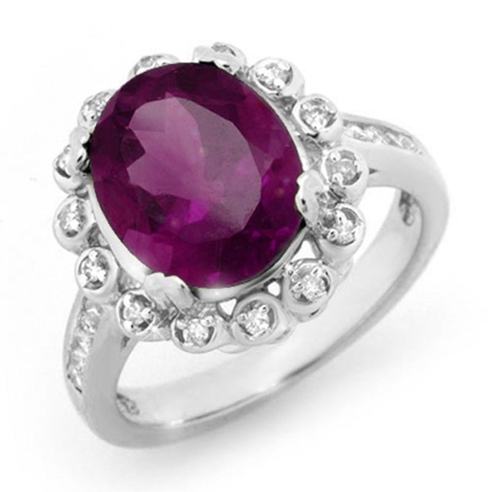 4.33 ctw Amethyst & Diamond Ring 10K White Gold - REF-66V4Y - SKU:13442
