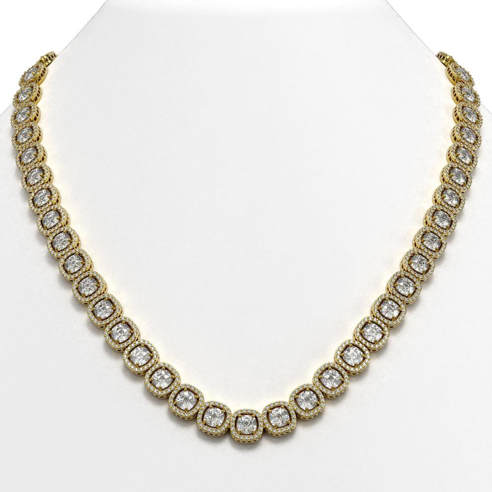 37.60 ctw Cushion Diamond Necklace 18K Yellow Gold - REF-5219R7K - SKU:42715