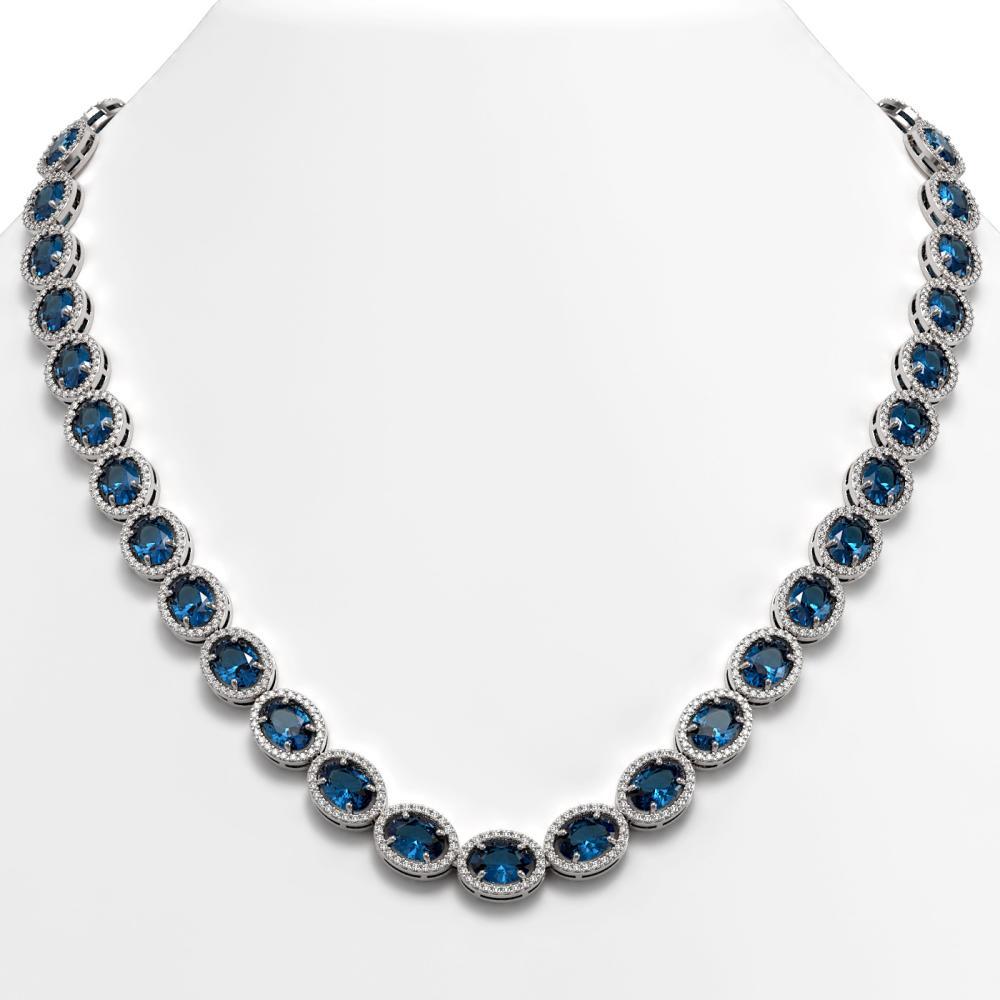 55.41 ctw London Topaz & Diamond Halo Necklace 10K White Gold - REF-576A2V - SKU:40589