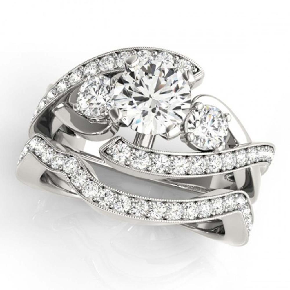 2.54 ctw VS/SI Diamond Bypass 2pc Wedding Set 14K White Gold - REF-554K2W - SKU:31781