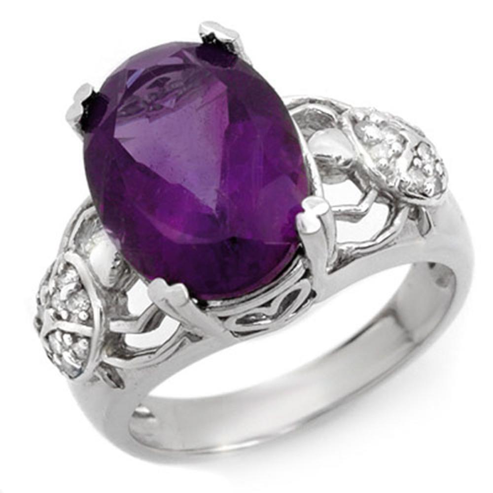 6.20 ctw Amethyst & Diamond Ring 10K White Gold - REF-52V7Y - SKU:10478