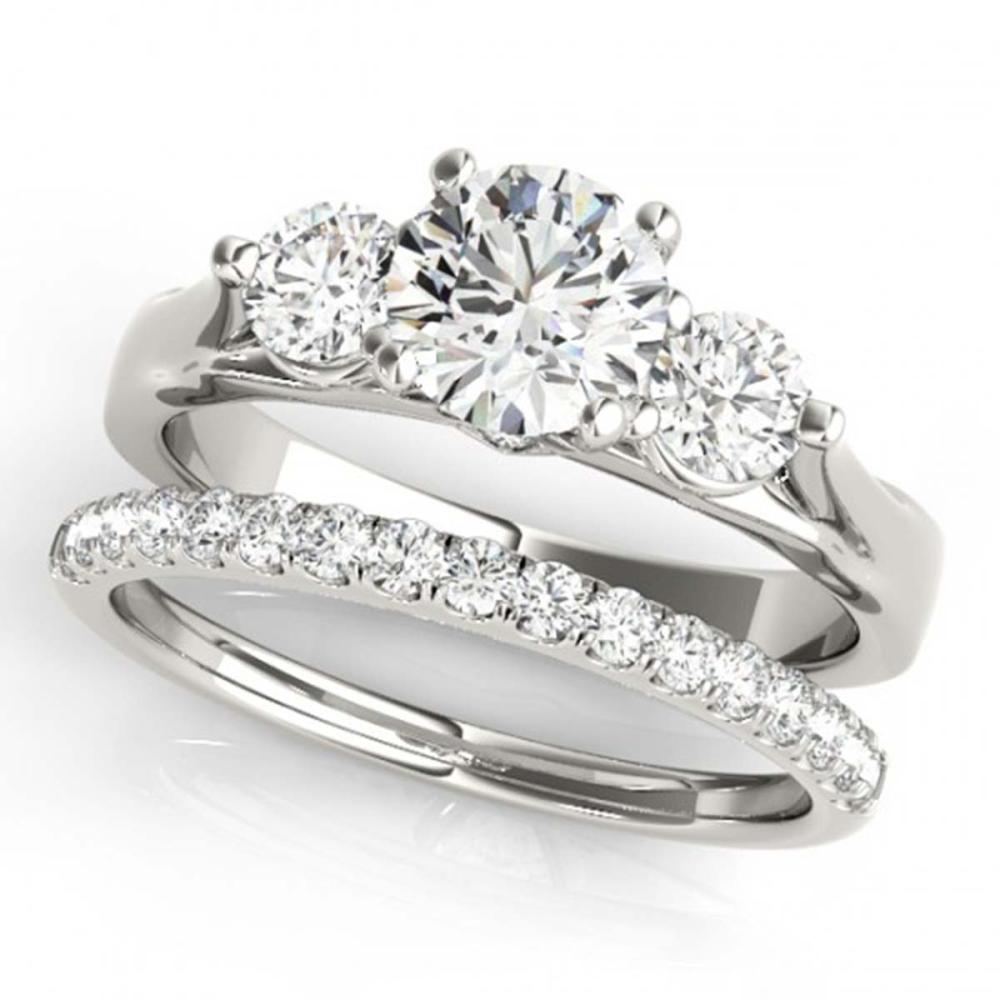 1.92 ctw VS/SI Diamond 3 Stone 2pc Wedding Set 14K White Gold - REF-322R6K - SKU:32033
