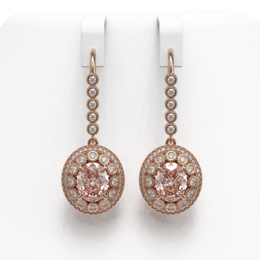 7.85 ctw Morganite & Diamond Earrings 14K Rose Gold - REF-317Y5X - SKU:43626