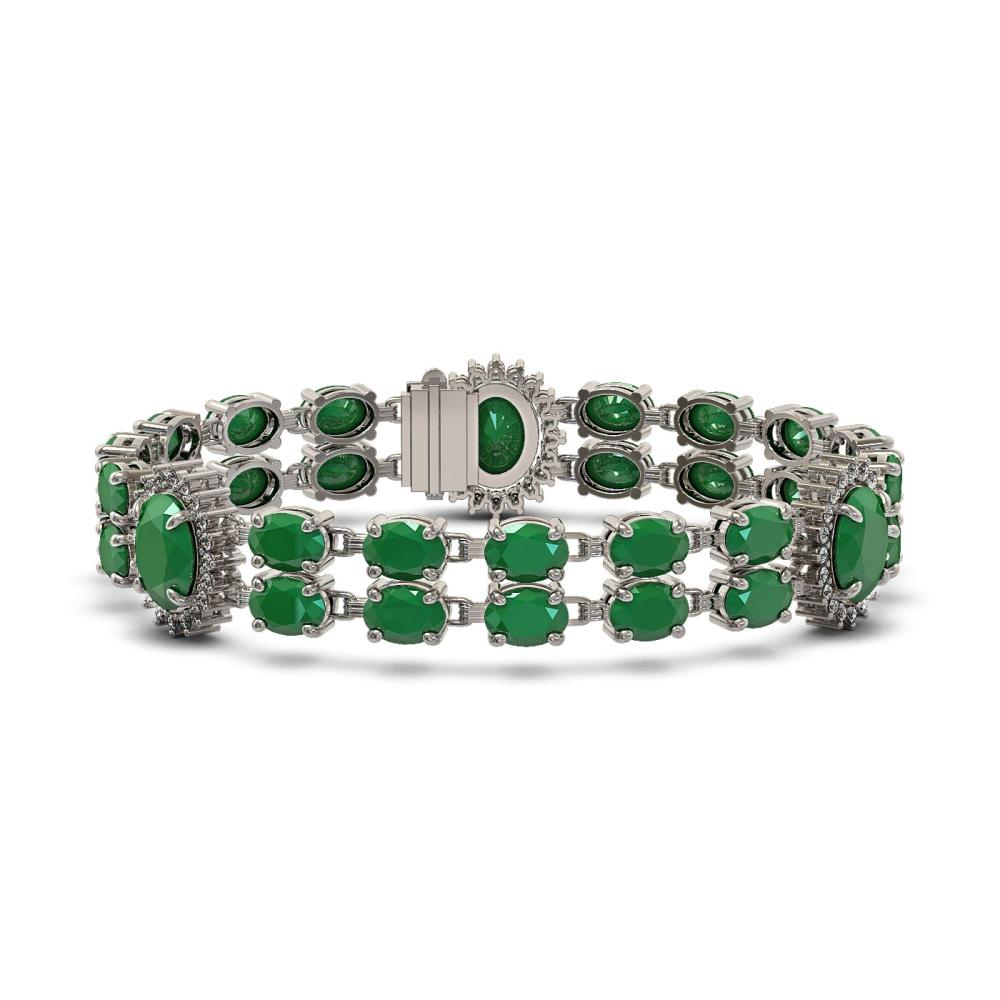 34.17 ctw Emerald & Diamond Bracelet 14K White Gold - REF-276Y2X - SKU:44396