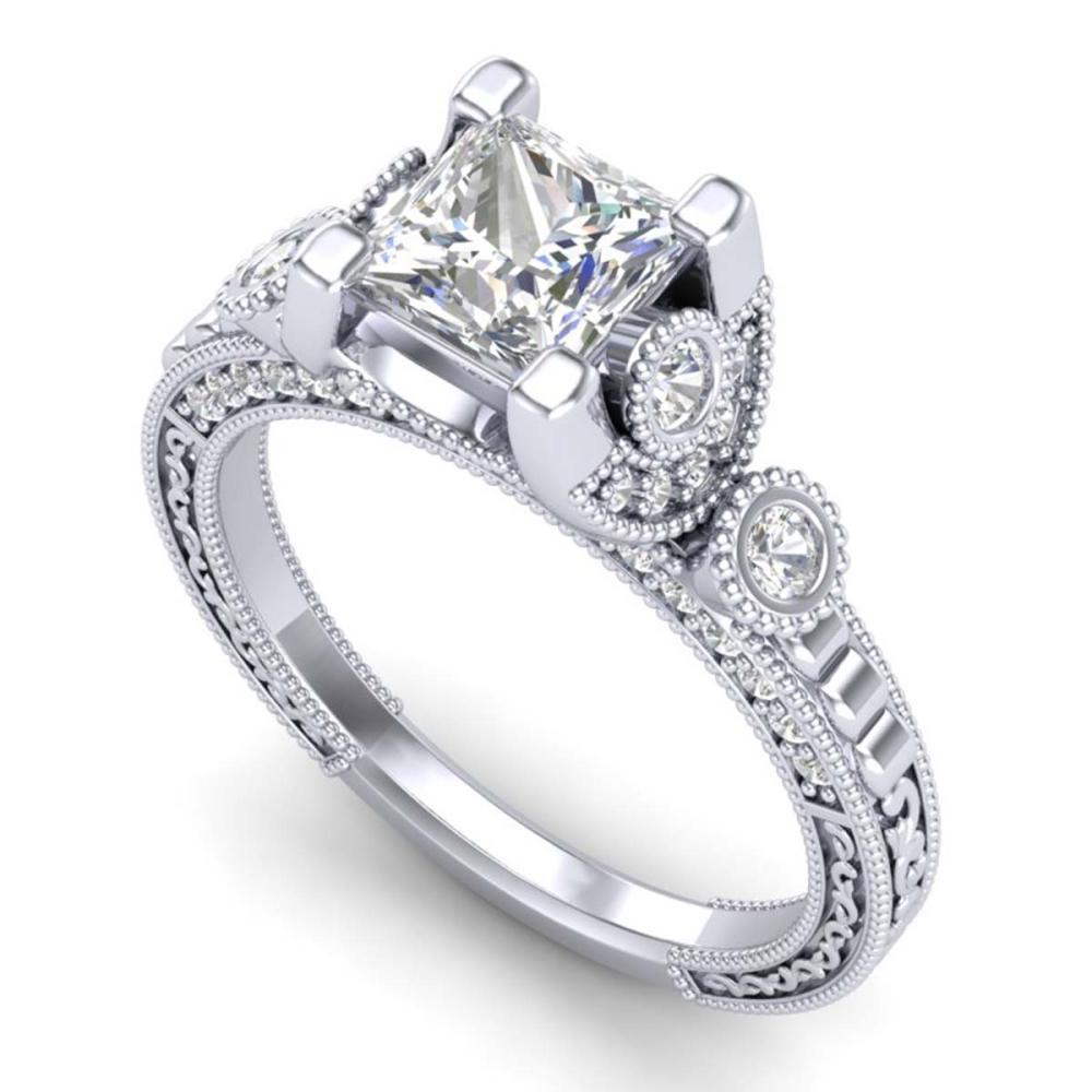 1.75 ctw Princess VS/SI Diamond Art Deco Ring 18K White Gold - REF-445K5W - SKU:37148