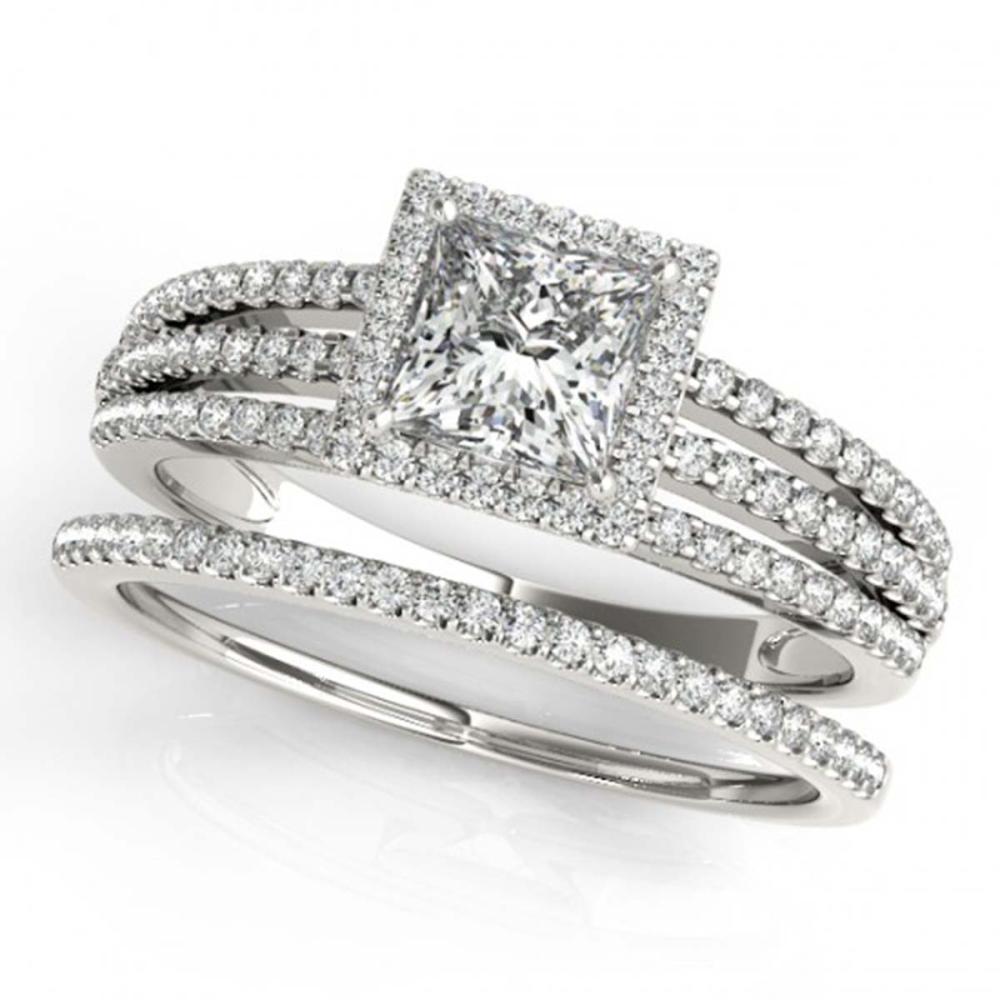 1.30 ctw VS/SI Princess Diamond 2pc Set Halo 14K White Gold - REF-182W2H - SKU:31385