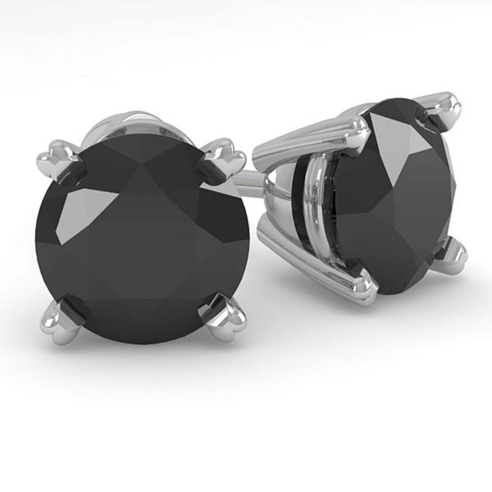 2.0 ctw Black Diamond Stud Earrings 18K White Gold - REF-52R6K - SKU:32307