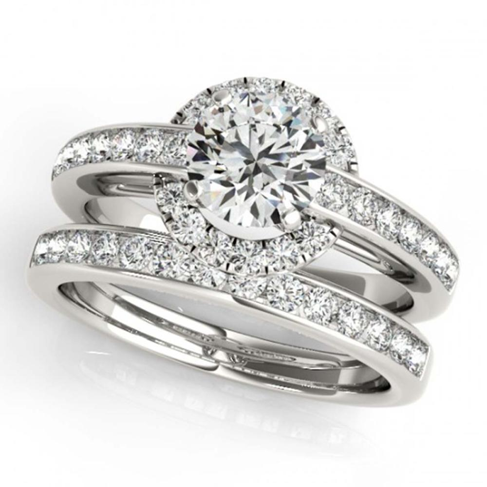 1.86 ctw VS/SI Diamond 2pc Wedding Set Halo 14K White Gold - REF-312N2A - SKU:31091
