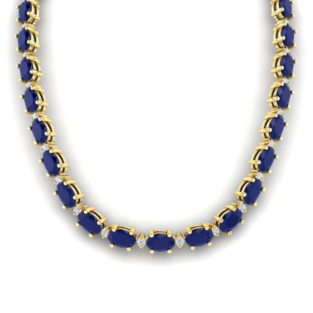 71.85 ctw Sapphire & VS/SI Diamond Eternity Necklace 10K Yellow Gold - REF-563W6H - SKU:29518
