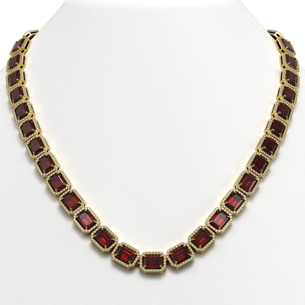 60.59 ctw Garnet & Diamond Halo Necklace 10K Yellow Gold - REF-676X5R - SKU:41377