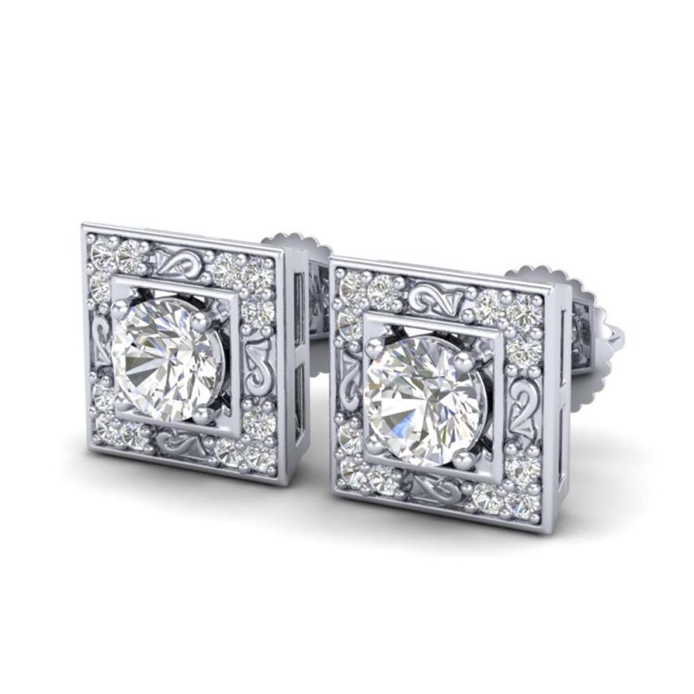1.63 ctw VS/SI Diamond Solitaire Art Deco Stud Earrings 18K White Gold - REF-254R5K - SKU:37268