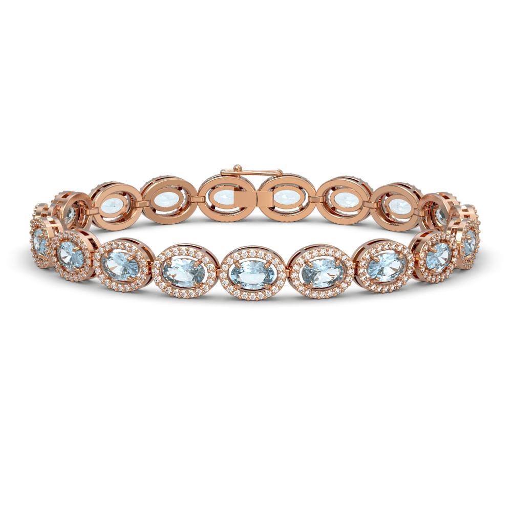 14.82 ctw Sky Topaz & Diamond Halo Bracelet 10K Rose Gold - REF-228A2V - SKU:40482