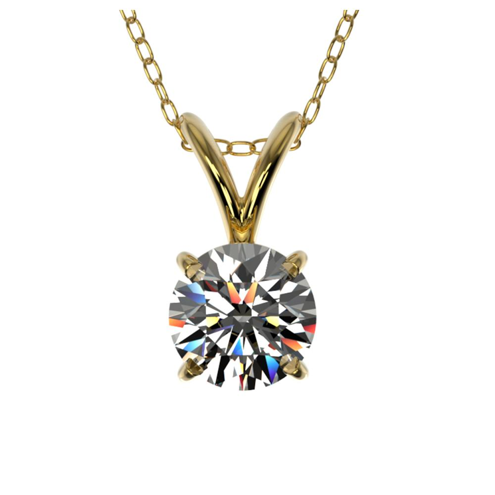 0.53 ctw H-SI/I Diamond Solitaire Necklace 10K Yellow Gold - REF-58M5F - SKU:36722