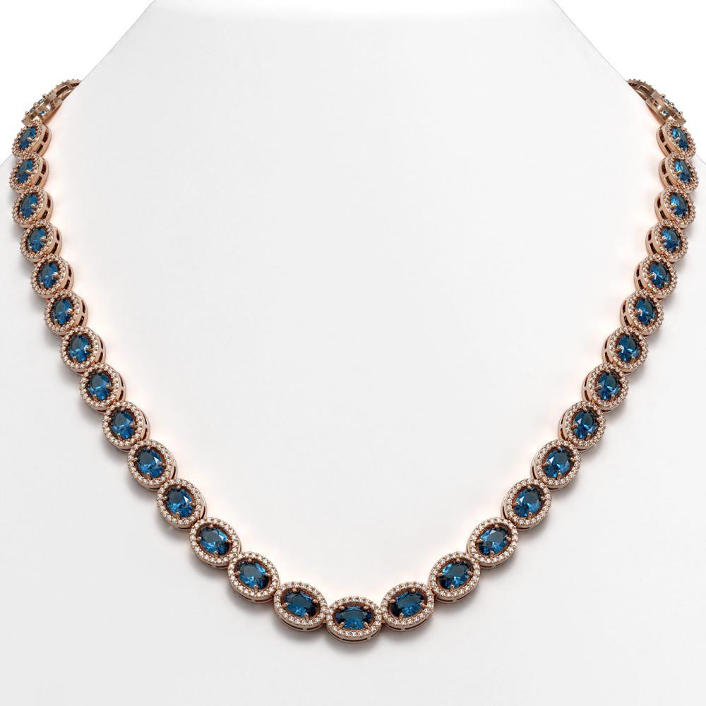 33.25 ctw London Topaz & Diamond Halo Necklace 10K Rose Gold - REF-511N3A - SKU:40437