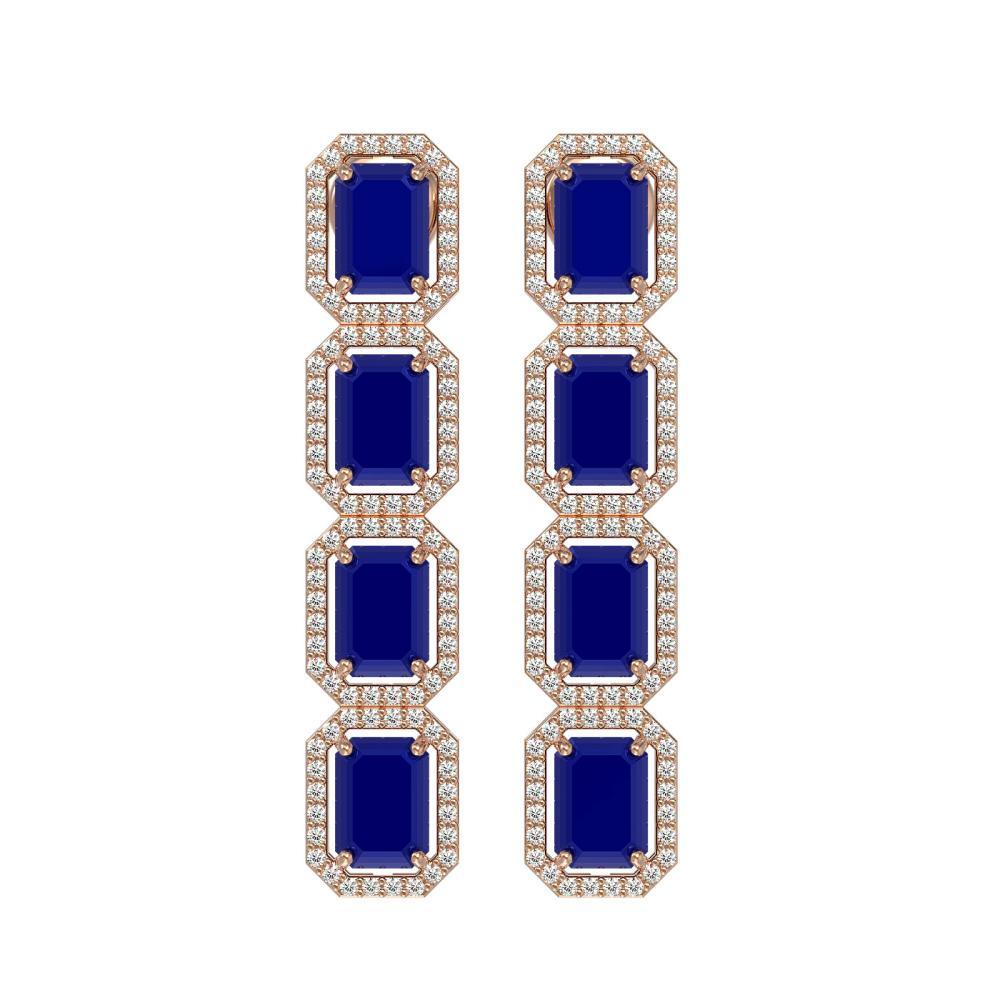 12.33 ctw Sapphire & Diamond Halo Earrings 10K Rose Gold - REF-163K6W - SKU:41433