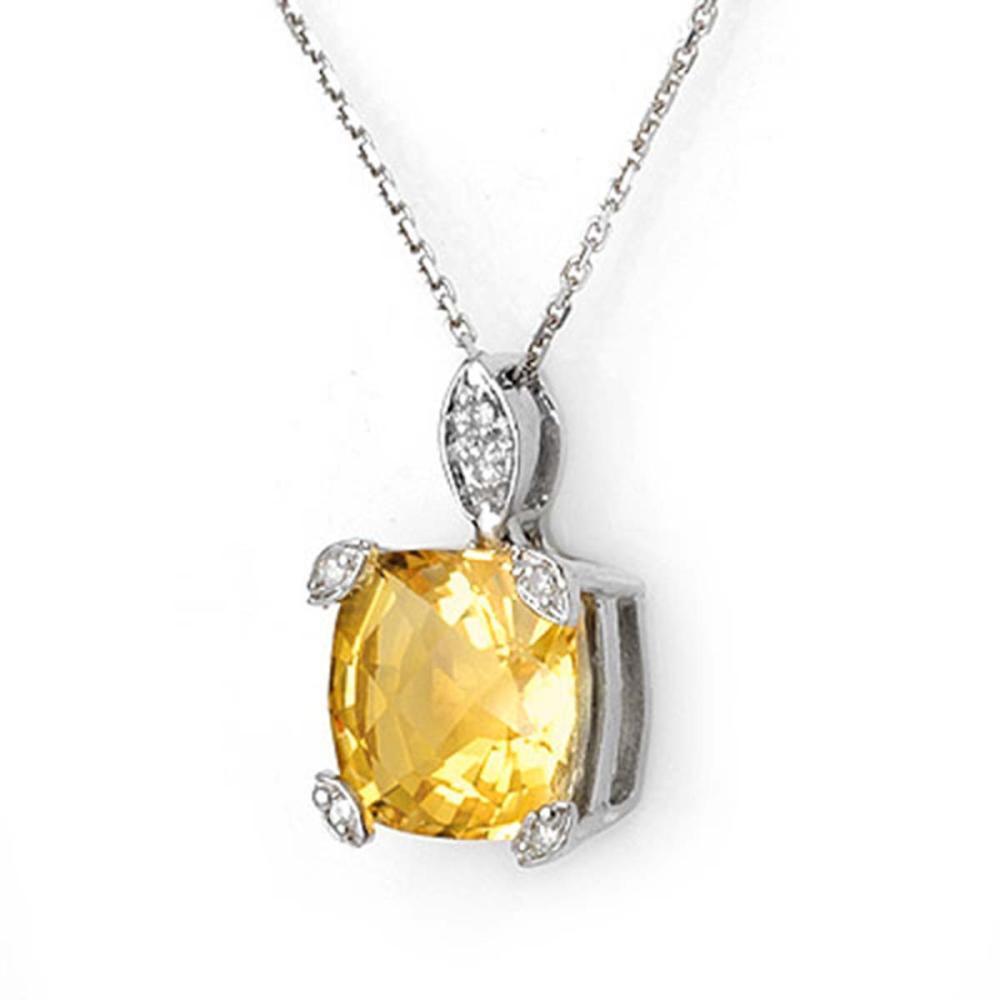5.10 ctw Citrine & Diamond Necklace 18K White Gold - REF-40A9V - SKU:11309