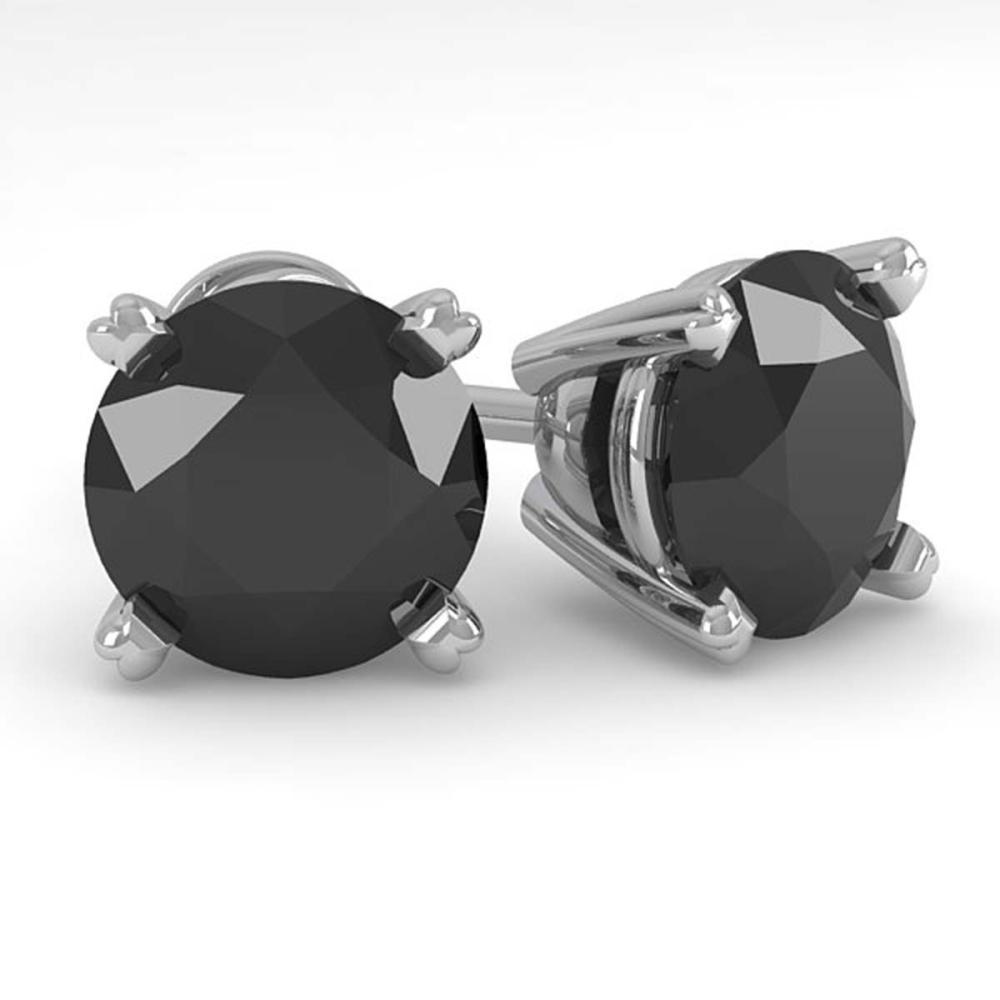 3.0 ctw Black Diamond Stud Earrings 18K White Gold - REF-100M5F - SKU:32319