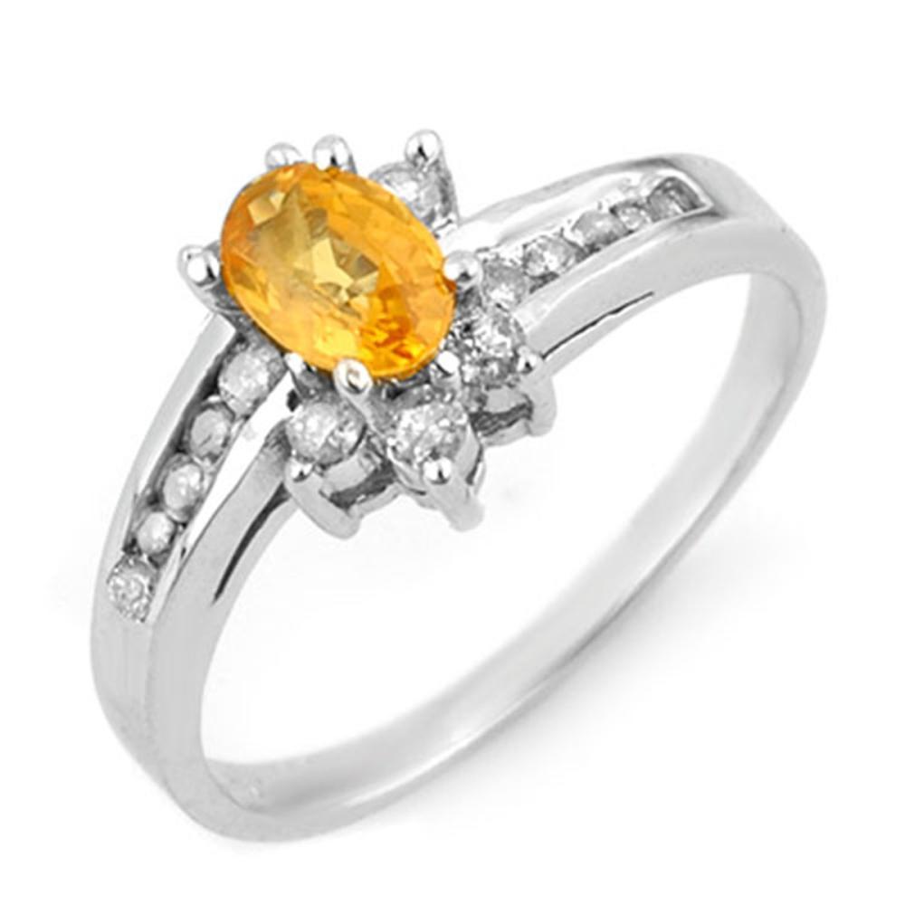 1.05 ctw Yellow Sapphire & Diamond Ring 14K White Gold - REF-41A3V - SKU:13933