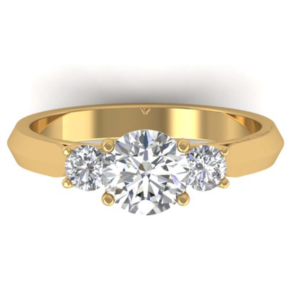 1.50 ctw VS/SI Diamond Solitaire 3 Stone Ring 14K Yellow Gold - REF-346Y2X - SKU:30314