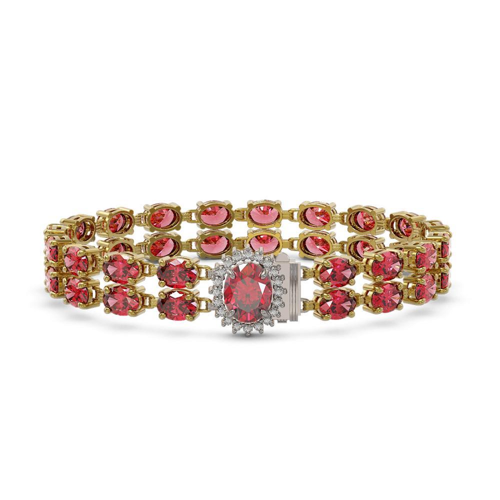26.92 ctw Tourmaline & Diamond Bracelet 14K Yellow Gold - REF-225N5A - SKU:45499