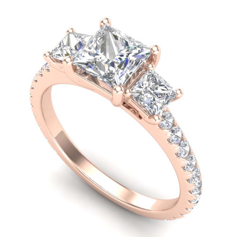 2.14 ctw Princess VS/SI Diamond Art Deco 3 Stone Ring 18K Rose Gold - REF-454Y5X - SKU:37206