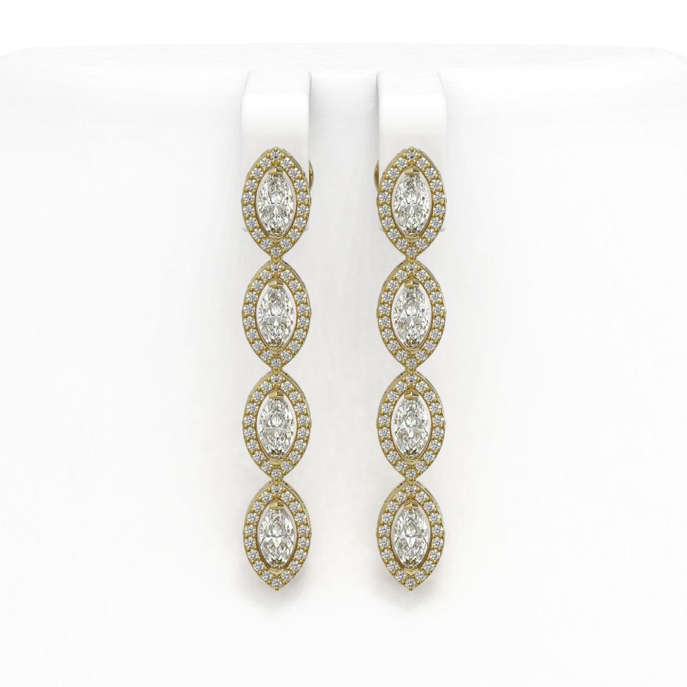 4.52 ctw Marquise Diamond Earrings 18K Yellow Gold - REF-381H7M - SKU:43054