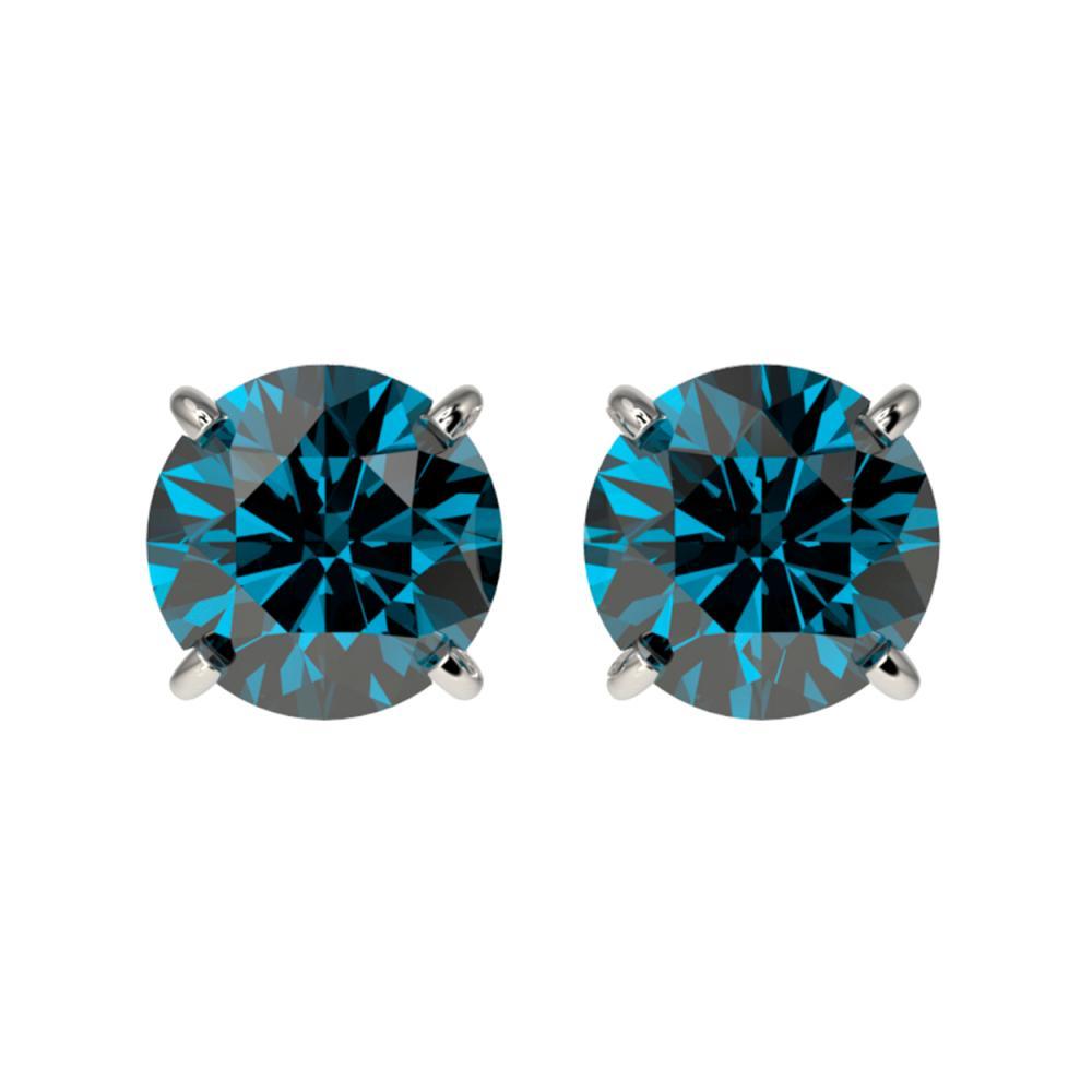 1.50 ctw Intense Blue Diamond Stud Earrings 10K White Gold - REF-127A5V - SKU:33075