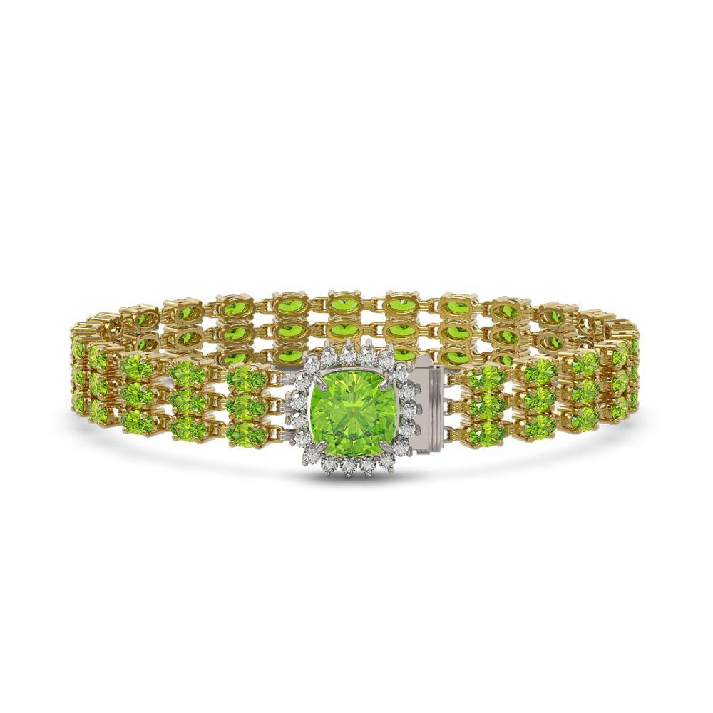 29.26 ctw Peridot & Diamond Bracelet 14K Yellow Gold - REF-282Y5X - SKU:45907