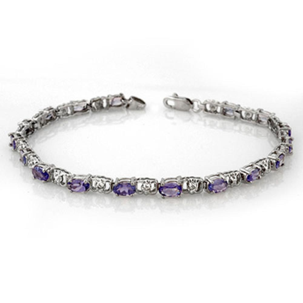 4.02 ctw Tanzanite & Diamond Bracelet 14K White Gold - REF-80N9A - SKU:11088