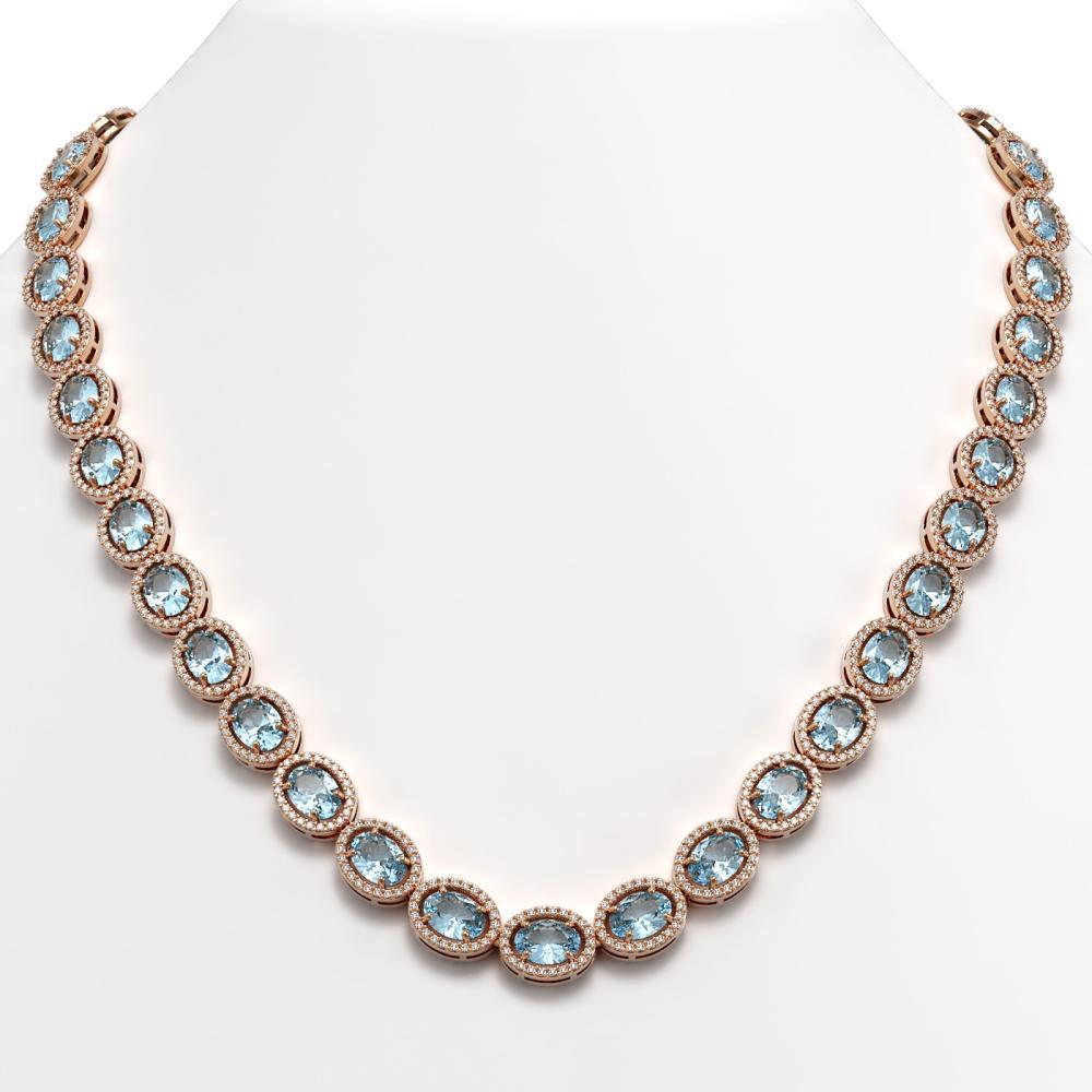 55.41 ctw Sky Topaz & Diamond Halo Necklace 10K Rose Gold - REF-636H4M - SKU:40584