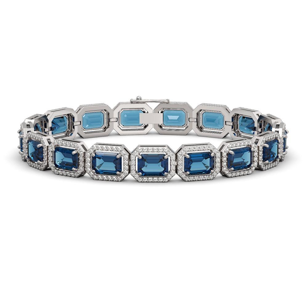 25.36 ctw London Topaz & Diamond Halo Bracelet 10K White Gold - REF-313Y3X - SKU:41414