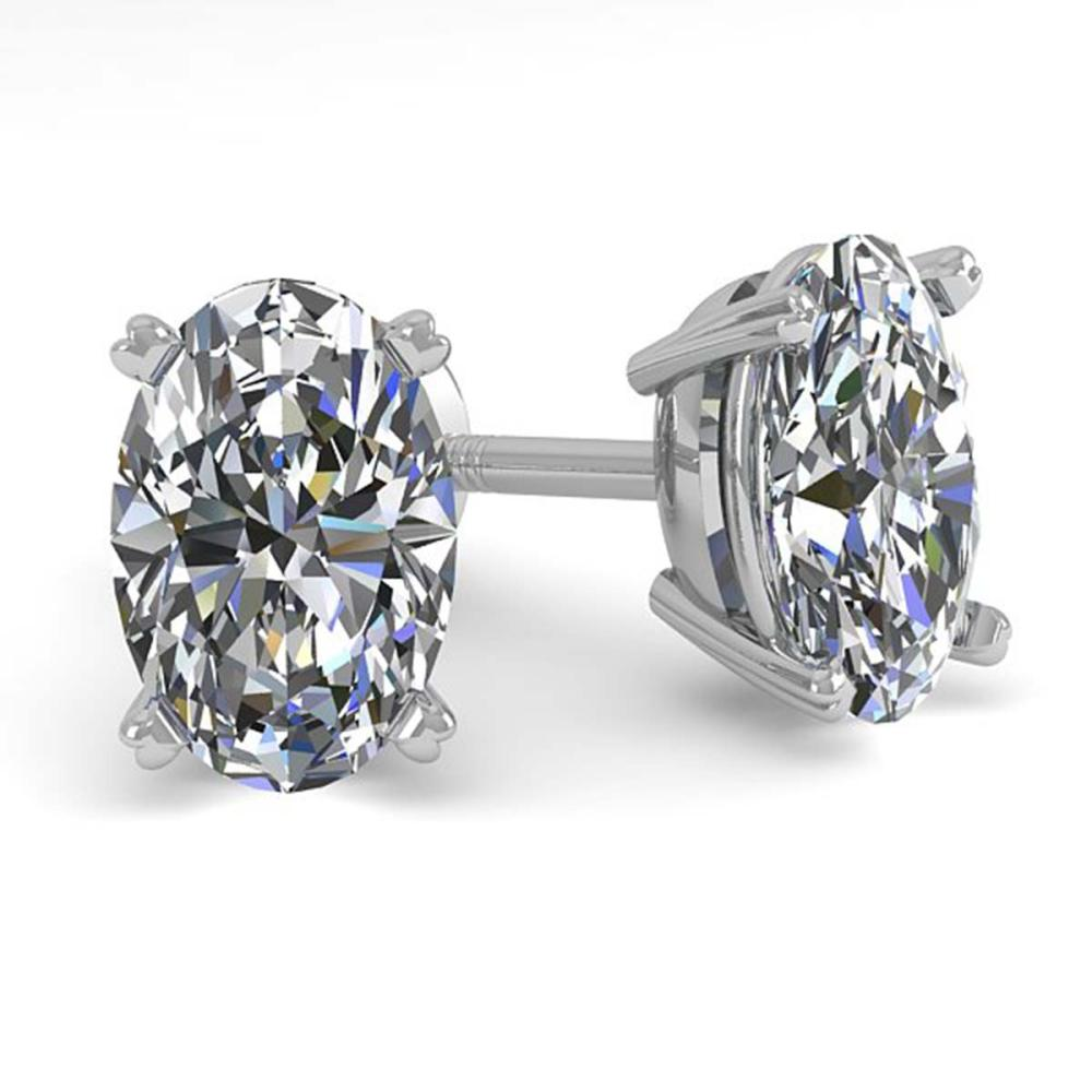 1.0 ctw VS/SI Oval Cut Diamond Stud Earrings 14K White Gold - REF-148F5N - SKU:38359