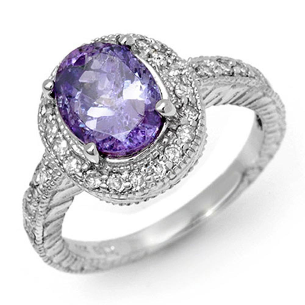 2.90 ctw Tanzanite & Diamond Ring 14K White Gold - REF-89F3N - SKU:11925