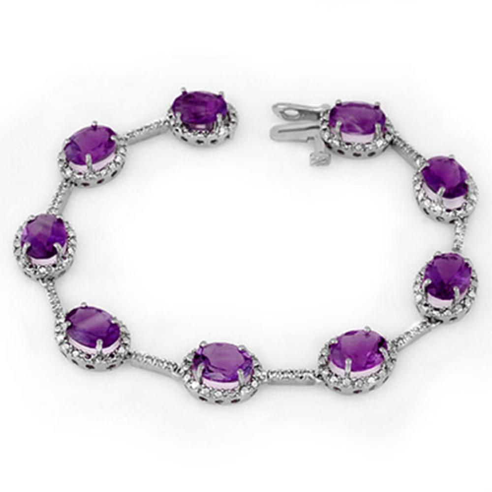 16.33 ctw Amethyst & Diamond Bracelet 10K White Gold - REF-82K2W - SKU:11104