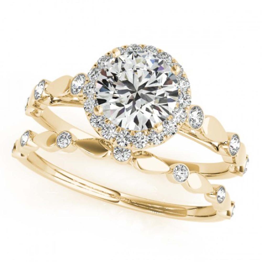 0.86 ctw VS/SI Diamond 2pc Wedding Set Halo Ring 14K Yellow Gold - REF-92Y7X - SKU:30857