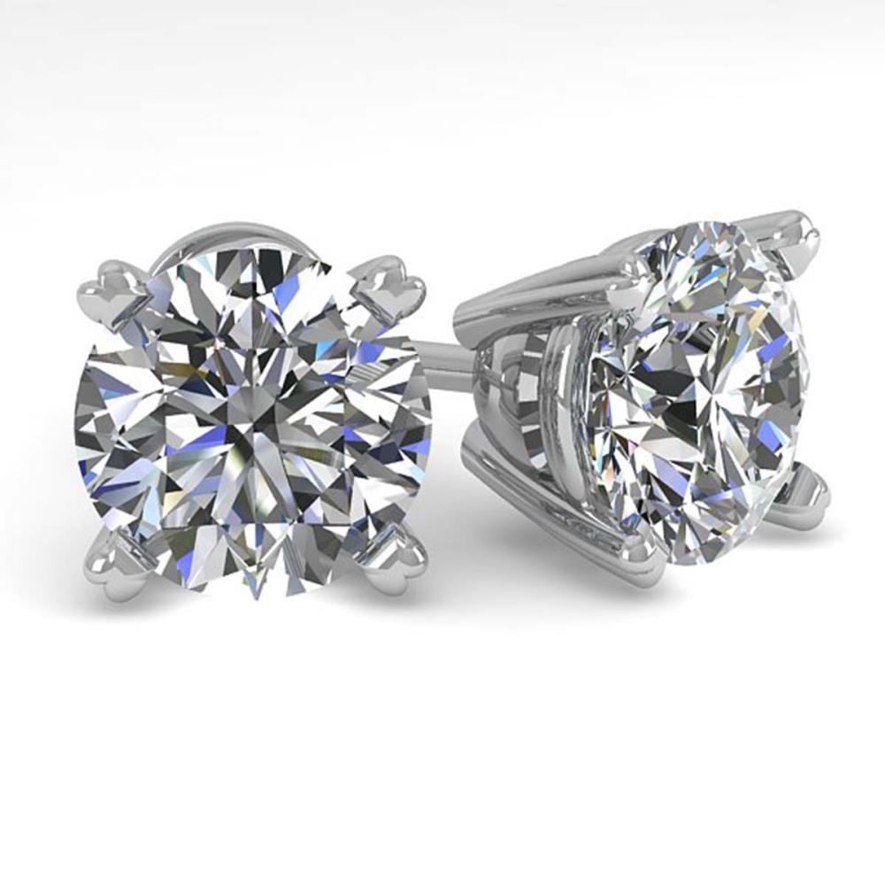 3 ctw VS/SI Diamond Stud Earrings 18K White Gold - REF-1024M7F - SKU:32316
