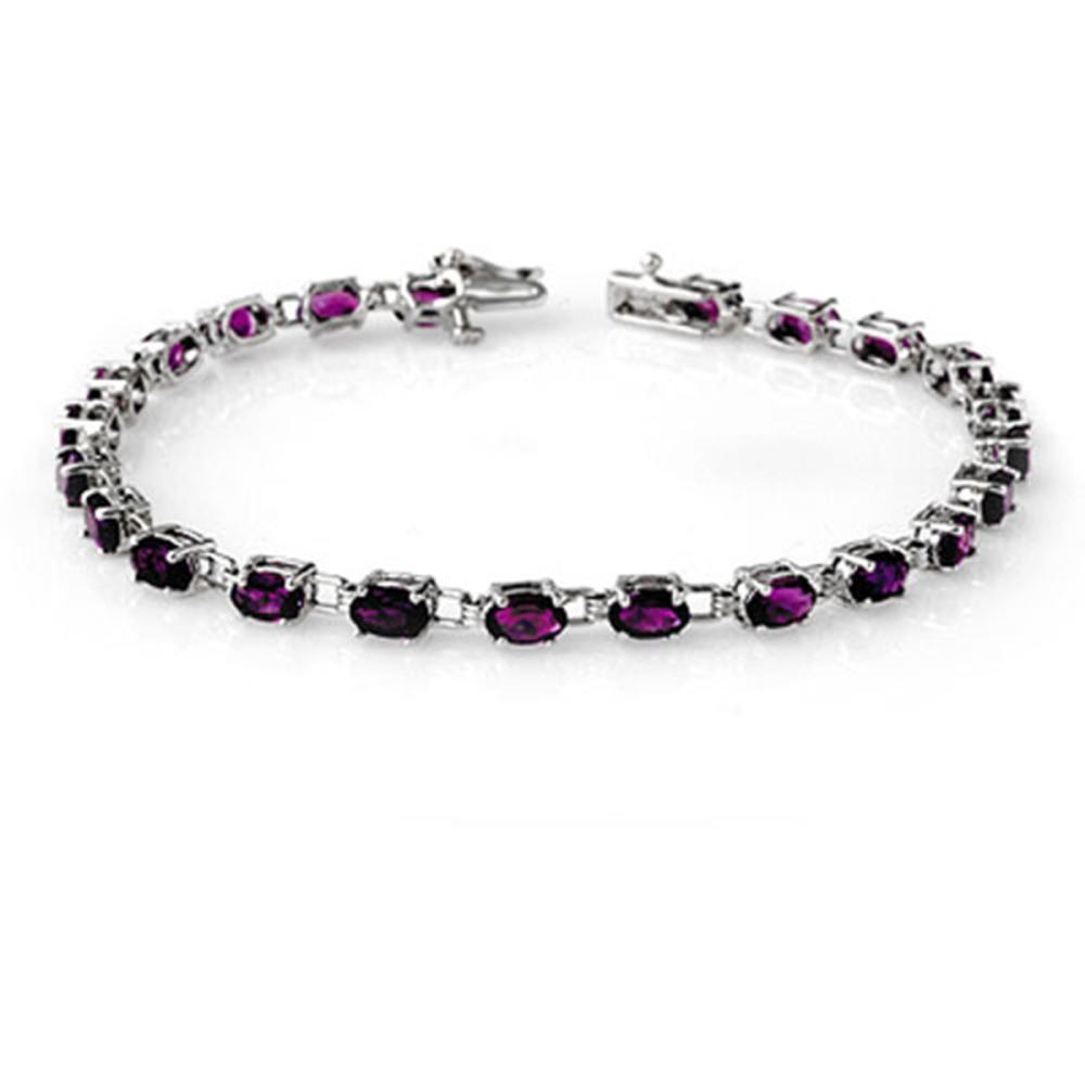 6.10 ctw Amethyst Bracelet 10K White Gold - REF-69N3A - SKU:13585